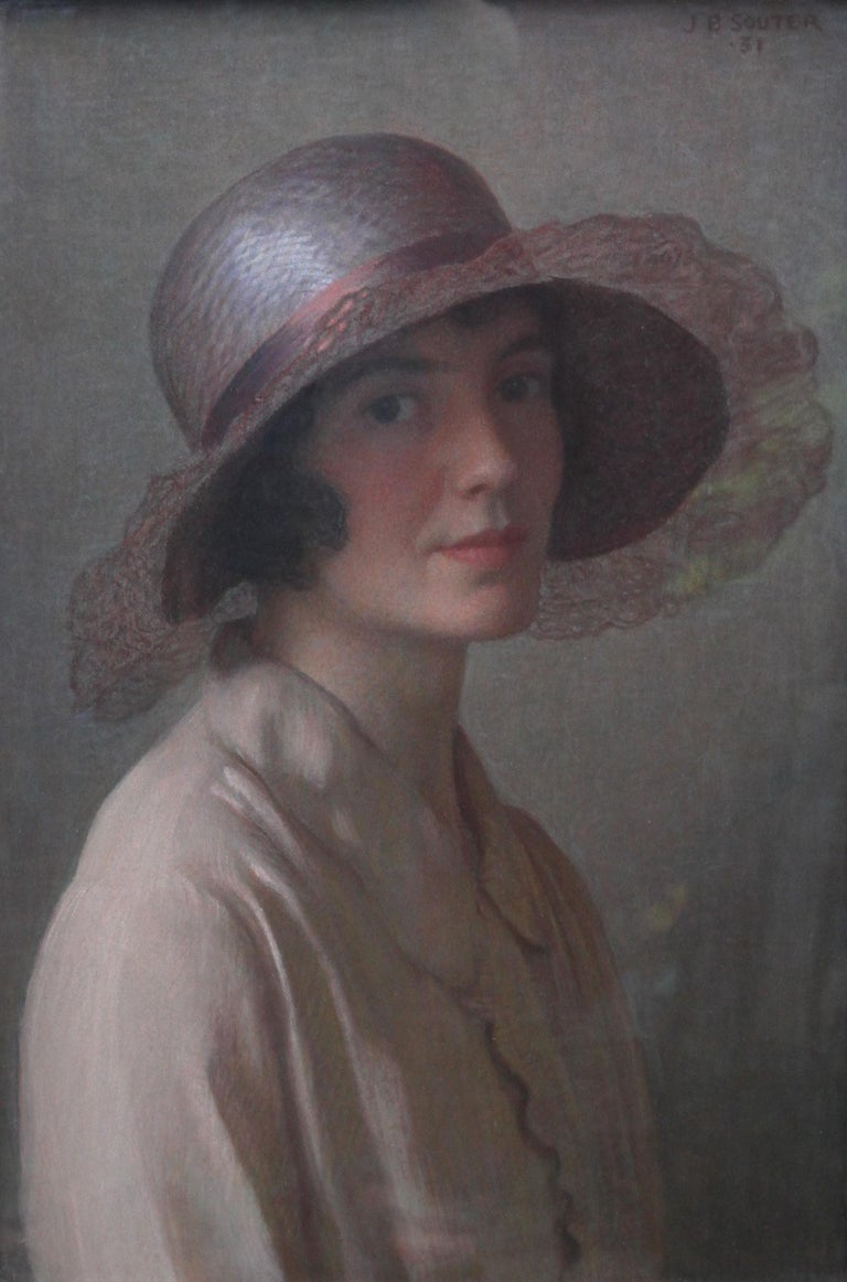 The Pink Bonnet - Scottish oil pastel portrait painting, probably artist's wife - Painting by John Bulloch Souter