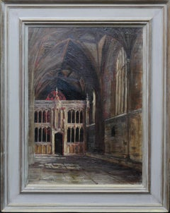 Church Interior Amiens - British oil painting religious art listed artist