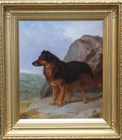 Collie Dog in a Landscape - 19th C Dog portrait oil painting monogram signature