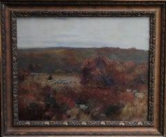Pastoral Landscape Scottish Impressionist  Art oil painting shepherd autumn 19th