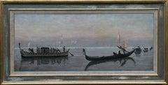 The Venetian Lagoon - The Last Crossing Scottish Realist Art 19thC oil painting