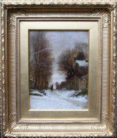 Snow at Fontainebleau - French Impressionist oil painting village trees 19th C