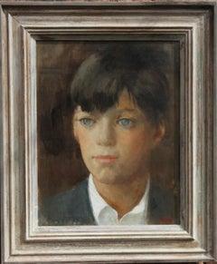 Portrait of a Boy - Irish Post Impressionist oil painting blue eyed boy Mid20thC