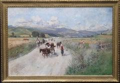 Italian landscape - Austrian Impressionist oil painting hills horse people 19thC