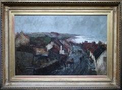 Harbour Storm - Scottish Impressionist Victorian art oil painting village horse