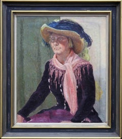 Portrait of a Lady in a Hat - British oil painting pink shawl female artist 1952