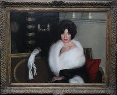 Mrs Rona Lucas Nee Levey - Britsh oil painting seated portrait interior lady fur