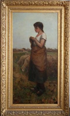 The Shepherdess - Victorian Scottish oil painting girl sheep 19thC landscape