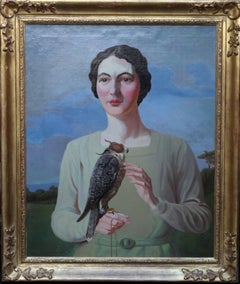 Mary Exley and Falcon - Art Deco Inter War portrait British aritst woman bird