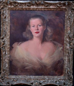 Lady Black - Scottish portrait artist society lady 1940's oil painting art