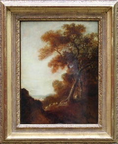 Wooded Landscape - Old Master British oil painting trees travellers village