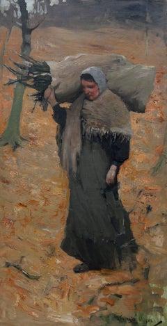 Gathering Faggots - Scottish Impressionist oil painting landscape woman