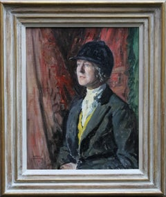 Hunting Lady - British 1930's oil painting portrait woman riding attire art