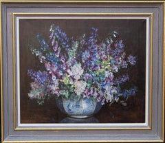 Blue Floral Arrangement - Art Deco tonalist oil painting female artist
