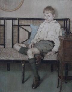 Portrait of a Boy - British painting Art Deco interior female artist
