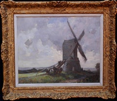 The Windmill Wrawby Lincolnshire - British Impressionist oil painting  landscape