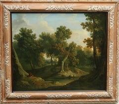Wooded Landscape Solitude- Old Master Irish artist oil painting woodland