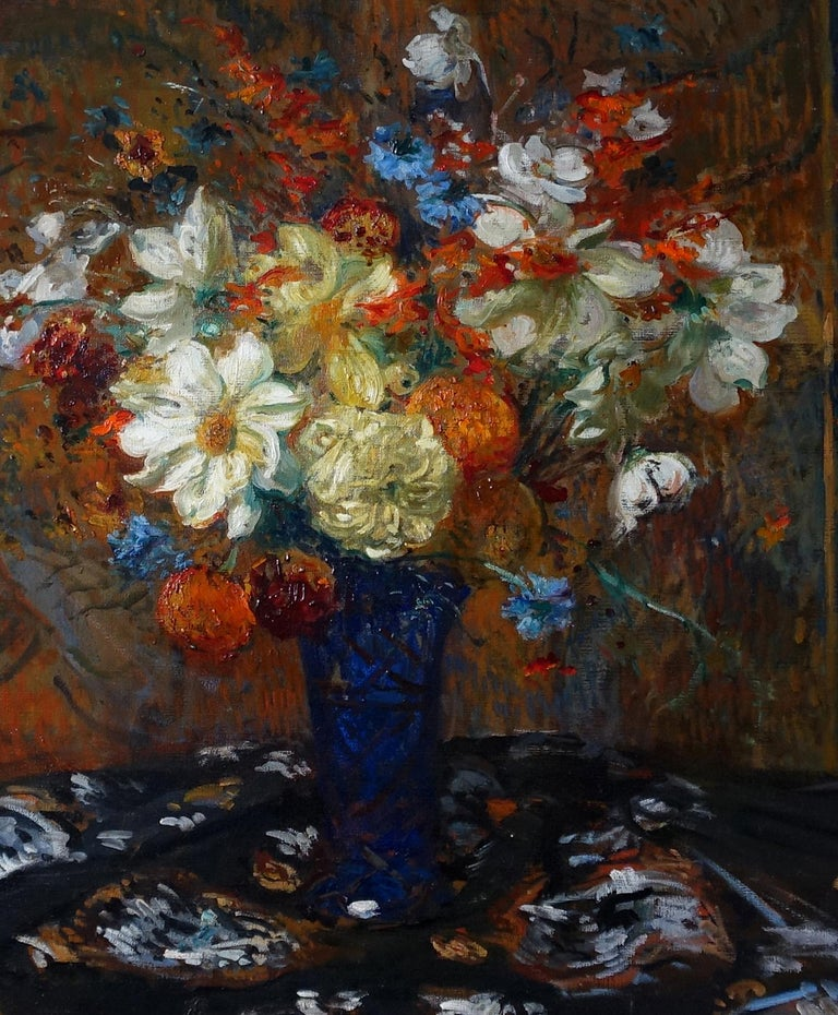 Floral Bouquet - French Art Impressionist oil painting flowers - Fin de Siecle - Brown Still-Life Painting by Jacques Emile Blanche