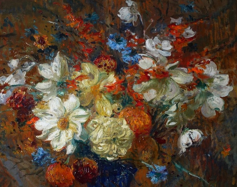 An original, circa 1900 oil on canvas by the French Impressionist artist Jaques-Emile Blanche. A stunning Impressionist painting depicting a vast floral bouquet. The Impressionist detail and vibrant colour make this a stand out painting. Signed