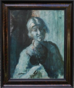Portrait of a Woman - Blue - British Edwardian Impressionist art oil painting
