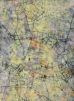City of Desires - British Abstract oil painting cityscape mapping yellow