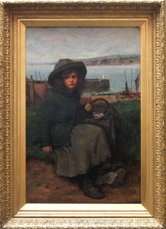 The Fisher Girl - Scottish Victorian oil painting young girl harbour seascape