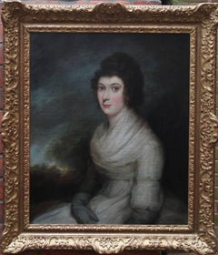 Portrait of a Lady 18th Century - British Old Master Art oil painting landscape