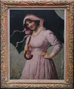 Lady in pink - British Edwardian Impressionist art oil painting girl pink dress
