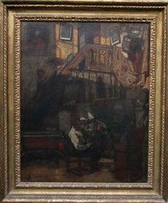 Self Portrait at Work - British Impressionist 19thC oil painting interior art