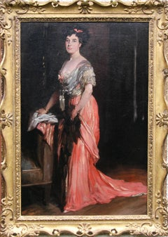Lady in Pink Dress - Muriel Morland - British oil painting portrait society lady