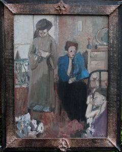 Gina, Afternoon - British Post Impressionist oil painting portrait interior art