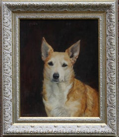 Portrait of a Welsh Corgi - British 30's oil painting female animal artist dog