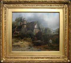 Dedham Watermill - British 19thC oil painting Constable country cottage dog art