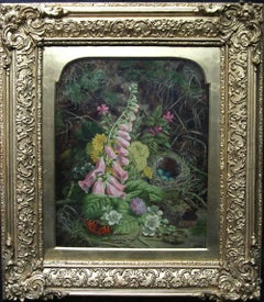 Still life of Plants - British Victorian oil painting countryside flowers nest