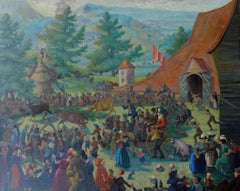 The Auction - British Market Slade School Art Deco Australian oil painting art