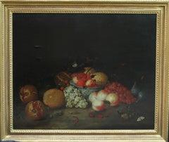 A Still Life Arrangement - Dutch Old Master 17thC oil painting fruit butterfly