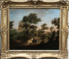 Moving the Flock - Old Master British oil painting landscape sheep figures trees