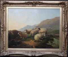 Sheep in an Open Landscape - British Old Master oil painting mountains