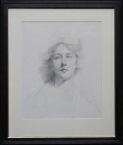 Self Portrait - Edwardian pencil drawing female artist