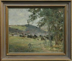 Peebles Landscape - Scottish Impressionist 19thC oil painting field hills sheep