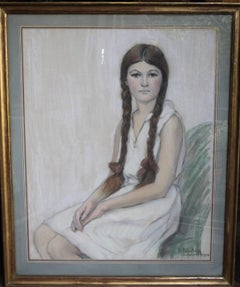 Irene Chisan Denbigh - Russian Art Deco drawing young woman plaits female artist