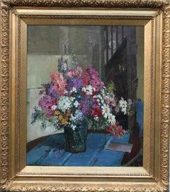 Floral Arrangement - British Impressionist 30's oil still life mixed flowers