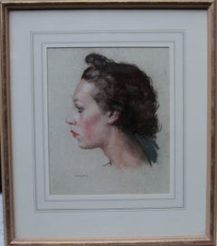 Portrait of a Woman - British Art Deco painting young lady profile red lipstick