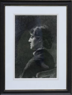 Portrait of a Lady - Pre-Raphaelite Victorian drawing seated young woman