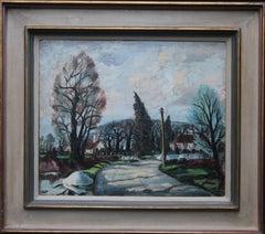 Lamarsh Essex - British Post Impressionist 40's oil painting villagescape trees