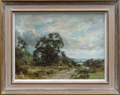 Glimpse of the Sea - Scottish Impressionist oil painting landscape trees fields