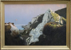 Over the Sea - Cornish early 20thC oil painting cliff top boy sheep sunset art