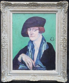 Woman in Beret - British 40's oil painting portrait London School monogram art