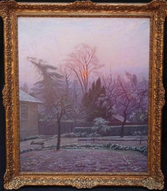 Rising Sun - London Blackheath 40's oil painting winter/spring garden frost dawn