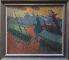 City Landscape - British 50's Abstract Surrealist oil painting houses blue red